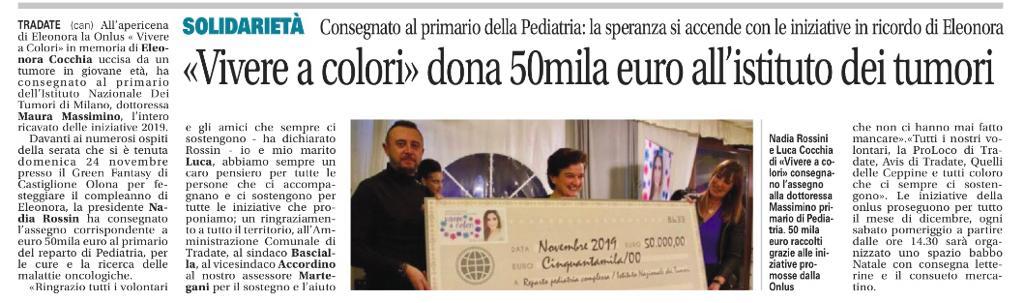 Donazione Ist. Nazionale dei Tumori Milano da Ass.Vivere a Colori ONLUS